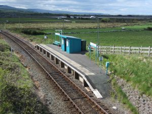 Llandanwg Station is an unstaffed halt on the Cambrian Coast Railway with direct passenger services to Harlech, Porthmadog and Pwllheli to the north and west, and Barmouth, Machynlleth, Shrewsbury and Birmingham to the south and east. (Source Wikipedia)