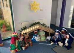 Nativity scene with puppets